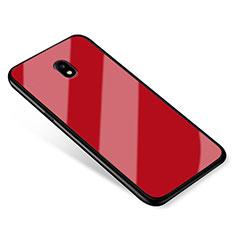 Custodia Silicone Specchio Laterale Cover per Samsung Galaxy J5 (2017) SM-J750F Rosso