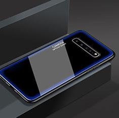 Custodia Silicone Specchio Laterale Cover per Samsung Galaxy S10 5G SM-G977B Blu