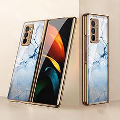 Custodia Silicone Specchio Laterale Cover per Samsung Galaxy Z Fold2 5G Azzurro