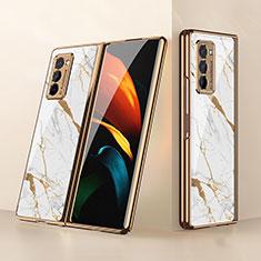 Custodia Silicone Specchio Laterale Cover per Samsung Galaxy Z Fold2 5G Bianco