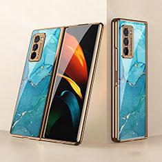 Custodia Silicone Specchio Laterale Cover per Samsung Galaxy Z Fold2 5G Ciano