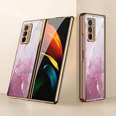 Custodia Silicone Specchio Laterale Cover per Samsung Galaxy Z Fold2 5G Rosa