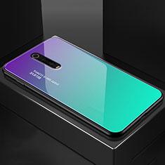 Custodia Silicone Specchio Laterale Cover per Xiaomi Mi 9T Ciano