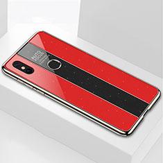 Custodia Silicone Specchio Laterale Cover per Xiaomi Mi Max 3 Rosso