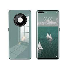 Custodia Silicone Specchio Laterale Cover T01 per Huawei Mate 40 Pro Verde