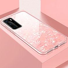 Custodia Silicone Specchio Laterale Cover T01 per Huawei P40 Pro Rosa