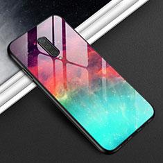 Custodia Silicone Specchio Laterale Cover T01 per OnePlus 8 Ciano