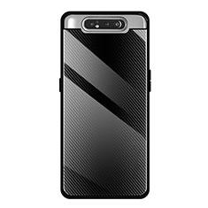 Custodia Silicone Specchio Laterale Cover T01 per Samsung Galaxy A80 Nero