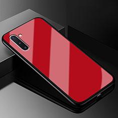Custodia Silicone Specchio Laterale Cover T01 per Samsung Galaxy Note 10 5G Rosso