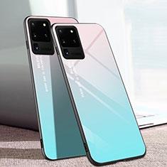 Custodia Silicone Specchio Laterale Cover T01 per Samsung Galaxy S20 Ultra 5G Ciano