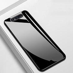 Custodia Silicone Specchio Laterale Cover T02 per Samsung Galaxy A80 Nero