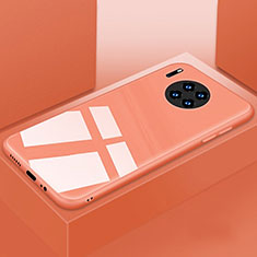 Custodia Silicone Specchio Laterale Cover T03 per Huawei Mate 30 5G Arancione
