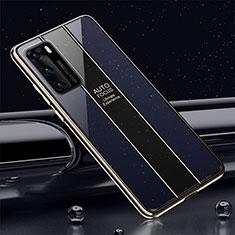 Custodia Silicone Specchio Laterale Cover T03 per Huawei P40 Blu