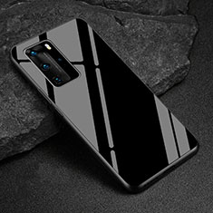 Custodia Silicone Specchio Laterale Cover T03 per Huawei P40 Pro Nero