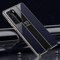 Custodia Silicone Specchio Laterale Cover T04 per Huawei P40 Pro Blu