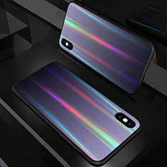 Custodia Silicone Specchio Laterale Sfumato Arcobaleno Cover A01 per Apple iPhone X Nero