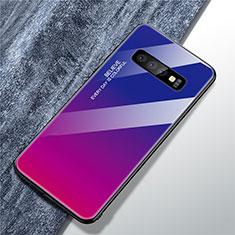 Custodia Silicone Specchio Laterale Sfumato Arcobaleno Cover A01 per Samsung Galaxy S10 Plus Rosa Caldo