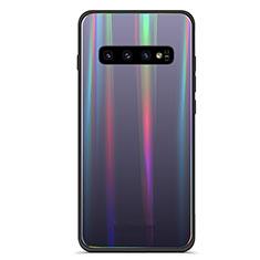 Custodia Silicone Specchio Laterale Sfumato Arcobaleno Cover A02 per Samsung Galaxy S10 Plus Nero