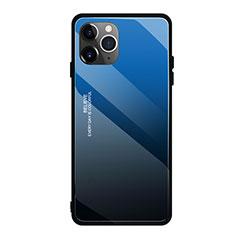 Custodia Silicone Specchio Laterale Sfumato Arcobaleno Cover H01 per Apple iPhone 11 Pro Blu