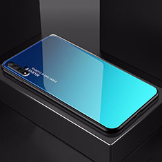 Custodia Silicone Specchio Laterale Sfumato Arcobaleno Cover H01 per Huawei Honor 20 Blu
