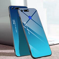 Custodia Silicone Specchio Laterale Sfumato Arcobaleno Cover H01 per Huawei Honor V20 Blu