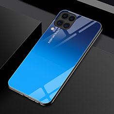 Custodia Silicone Specchio Laterale Sfumato Arcobaleno Cover H01 per Huawei P40 Lite Blu
