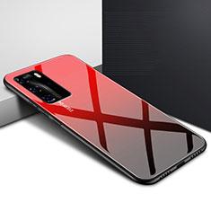 Custodia Silicone Specchio Laterale Sfumato Arcobaleno Cover H01 per Huawei P40 Pro Rosso