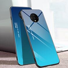 Custodia Silicone Specchio Laterale Sfumato Arcobaleno Cover H01 per OnePlus 7T Blu