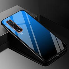 Custodia Silicone Specchio Laterale Sfumato Arcobaleno Cover H01 per Oppo Find X2 Pro Blu