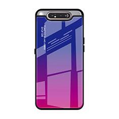 Custodia Silicone Specchio Laterale Sfumato Arcobaleno Cover H01 per Samsung Galaxy A90 4G Rosa Caldo
