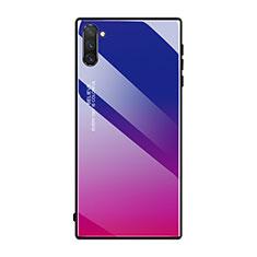 Custodia Silicone Specchio Laterale Sfumato Arcobaleno Cover H01 per Samsung Galaxy Note 10 5G Rosa Caldo