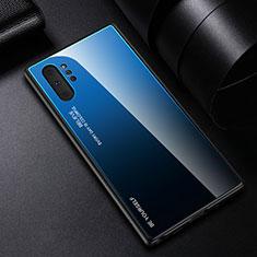 Custodia Silicone Specchio Laterale Sfumato Arcobaleno Cover H01 per Samsung Galaxy Note 10 Plus 5G Blu