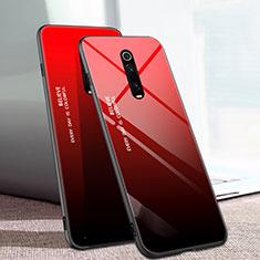 Custodia Silicone Specchio Laterale Sfumato Arcobaleno Cover H01 per Xiaomi Mi 9T Pro Rosso