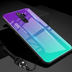 Custodia Silicone Specchio Laterale Sfumato Arcobaleno Cover H01 per Xiaomi Redmi Note 8 Pro Ciano