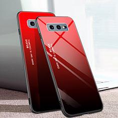 Custodia Silicone Specchio Laterale Sfumato Arcobaleno Cover H02 per Samsung Galaxy S10e Rosso