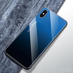 Custodia Silicone Specchio Laterale Sfumato Arcobaleno Cover M01 per Apple iPhone Xs Blu