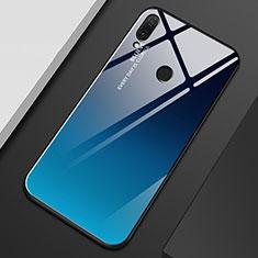 Custodia Silicone Specchio Laterale Sfumato Arcobaleno Cover M01 per Huawei Enjoy 9 Plus Blu