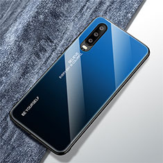 Custodia Silicone Specchio Laterale Sfumato Arcobaleno Cover M01 per Huawei P30 Blu
