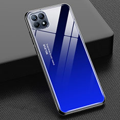 Custodia Silicone Specchio Laterale Sfumato Arcobaleno Cover M01 per Oppo Reno4 SE 5G Blu