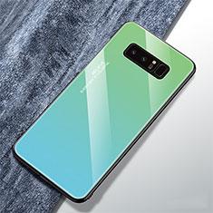 Custodia Silicone Specchio Laterale Sfumato Arcobaleno Cover M01 per Samsung Galaxy Note 8 Duos N950F Ciano