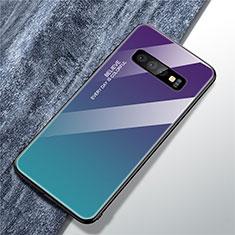 Custodia Silicone Specchio Laterale Sfumato Arcobaleno Cover M01 per Samsung Galaxy S10 Multicolore
