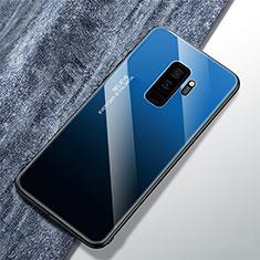 Custodia Silicone Specchio Laterale Sfumato Arcobaleno Cover M01 per Samsung Galaxy S9 Plus Blu
