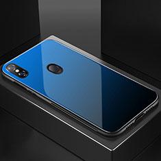 Custodia Silicone Specchio Laterale Sfumato Arcobaleno Cover M01 per Xiaomi Mi 8 Blu