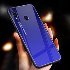 Custodia Silicone Specchio Laterale Sfumato Arcobaleno Cover M01 per Xiaomi Redmi Note 7 Pro Blu