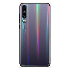 Custodia Silicone Specchio Laterale Sfumato Arcobaleno Cover M02 per Huawei P30 Nero