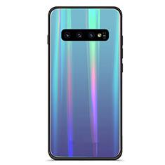 Custodia Silicone Specchio Laterale Sfumato Arcobaleno Cover M02 per Samsung Galaxy S10 Blu