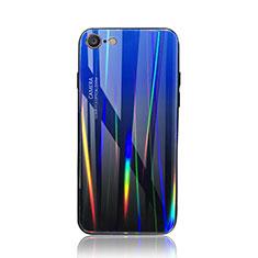 Custodia Silicone Specchio Laterale Sfumato Arcobaleno Cover per Apple iPhone 7 Blu