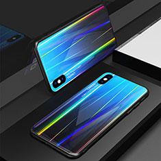 Custodia Silicone Specchio Laterale Sfumato Arcobaleno Cover per Apple iPhone X Blu