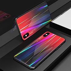 Custodia Silicone Specchio Laterale Sfumato Arcobaleno Cover per Apple iPhone Xs Rosso