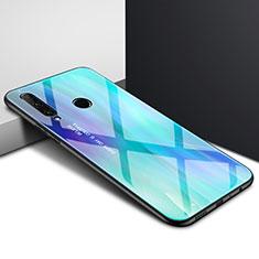 Custodia Silicone Specchio Laterale Sfumato Arcobaleno Cover per Huawei Enjoy 10 Plus Ciano